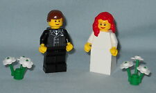 NEW LEGO WEDDING RED HAIR BRIDE AND BROWN HAIR GROOM MINIFIGURES FOR CAKE TOPPER