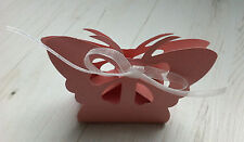 10 boites contenant dragées mariage bapteme rose papillon ruban neuf