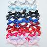 25 polka dot bows 30mm x 20mm  ribbon width 7mm red pink blue white black lilac