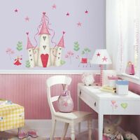PRINCESS CASTLE WALL DECALS New Hearts & Stars Stickers Girls Pink Bedroom Decor