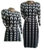 Fabulous WALLIS WOMENS Black White RETRO Abstract Print Sleeved Tunic DRESS 8