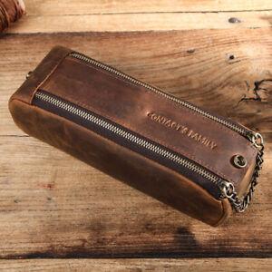 New Retro Crazy Horse Leather Double Zipper Large Capacity Pencil Case Portable
