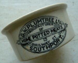 G.W.PLUMTREE Ltd SOUTHPORT potted meats pot crock C 1900s