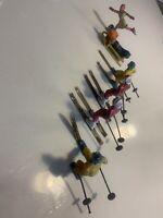 Vintage Barclay Metal Figures Skiing Sled Sledding Ice Skate