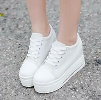 Women Canvas Platform Hidden Wedge high heel Lace up Creepers Sneakers Shoes@@