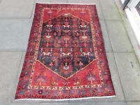 Vintage Hand Made Traditional Rug Oriental Wool Blue Red Small Rug 153x104cm