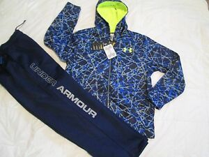 NEW Boys UNDER ARMOUR 2Pc Outfit Blue/Gray Hoodie+Pants COLDGEAR YLG FREE SHIP!