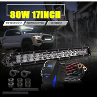 80w 17'' Led Work Light Bar Combo Bumper lights With Wiring Harness For Tacoma