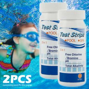 2Bottles 100 Chlorine Dip Test Strips Hot Tub SPA Swimming Pool PH Tester Paper