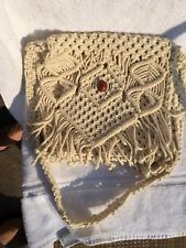 Vintage Macrame Hobo Bag Boho Chic Off-White Pre-Owned
