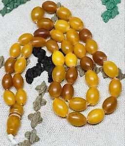 Amber egg yolk baltic old Rare antique  rosary  25gramm  , bernstein