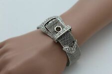 Women Bracelet Silver Metal Wrist Bangle Bling Fashion Jewelry Belt Buckle Charm