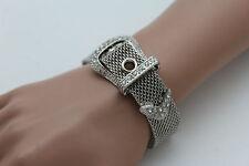 New Women Bracelet Silver Metal Wrist Bangle Fashion Jewelry Belt Buckle Charm