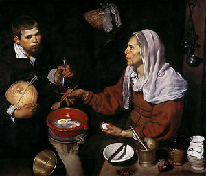 Diego Velazquez, An old woman frying eggs, 1618, Art Poster, Museum Canvas Print