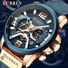 Curren Reloj deportivo Azul de pulsera de cuero para hombres.
