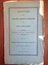 RARE 1891 Sandy Creek Baptist Sunday School Assn, North Carolina Moore County NC