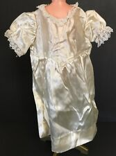 """Vintage Cream Satin Nylon Doll Dress Gown With Lace Collar Trim 13"""" Long"""