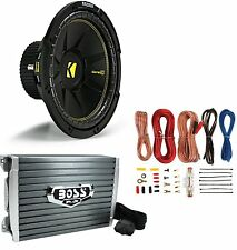 "Kicker 44CWCS12 12"" 600W 2-Ohm Subwoofer + AR1500M MONO 1500W Amplifier +Amp Kit"