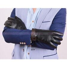 Men Winter Genuine Leather Gloves Warm Lambskin Outdoor Sheepskin Mittens New