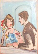 Original Impressionist oil painting man and woman portrait