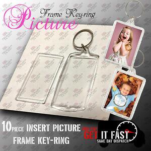 10 PCS TRANSPARENT BLANK INSERT PHOTO PICTURE FRAME KEYRING SPLIT RING KEYCHAIN