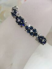 Madagascar Blue Sapphire & White Topaz Silver Gemstone bracelet  Luxury gift box