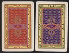 2 Single VINTAGE Swap/Playing Cards US ART DECO GEOMETRIC DESIGNS Acorns & Gold