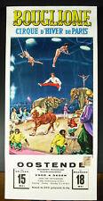 Affiche originale de cirque d'hivers Bouglione c1960 Ostende Belgique circus