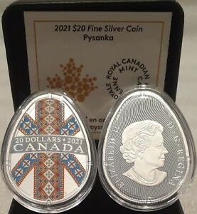 2021 Traditional Ukrainian Pysanka $20 1OZ Egg Shaped Silver Proof Coin Canada