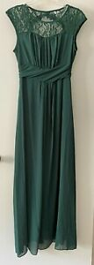 Green Long Maxi Dress Evening Gown Bridesmaid Party Formal Wedding Prom Size M