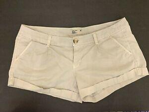 American Eagle Shortie Shorts Women's Size 10 Khaki Stretch Casual Beige Button