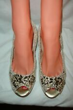 Arturo Chiang Metallic Gold Jeweled Peep Toe Ballet Flats Shoes 7.5 M