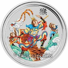 Australia 2016 Year of Monkey Lunar Sun Wokong Monkey King $1 1 Oz Silver Dollar
