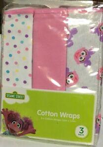 Sesame Street Multi Coloured Cotton Baby Wraps Set of 3