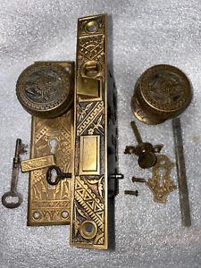 Antique Bradford Entry Mortise Lock & BLW  Door Knobs, Backplate, Skeleton Key
