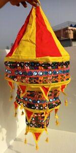 Hanging Fabric Lantern Lamp Light Shade Lampshade Tasseled Asian Handmade Crafts