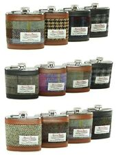 Glen Appin Harris Tweed Hip Flask 6oz in a choice of colours Gift Boxed