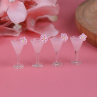 4Pcs 1/12 Dollhouse Miniature Cocktail Cup Drink Glass Model Toy Dollhouse De Cw