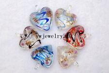FREE Wholesale Bulk 12Ps Heart Flower Murano Glass Pendants Fit Necklace
