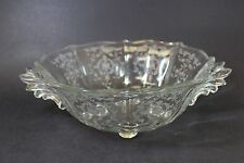 Crystal Fostoria Baroque Handled 4 Toed Bowl in Navarre-Clear Pattern Beautiful
