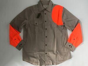FILSON Long Sleeve LEFT HANDED Tan/Orange Hunting SHOOTING SHIRT Mens MEDIUM NEW