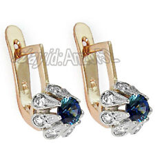 Russian Style 585 14k Rose & White Gold Diamond Sapphire Earrings