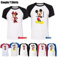 Disney I Love Mickey I Love Minnie Couple T-Shirt Men's Women's Graphic Tee Tops