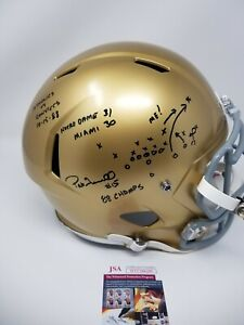 Pat Terrell Signed Notre Dame Fighting Irish Riddell Rep Helmet THE PLAY drawn