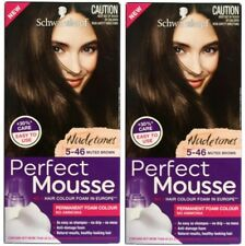 2 x SCHWARZKOPF PERFECT MOUSSE PERMANENT HAIR COLOUR FOAM 5-46 MUTED BROWN NEW