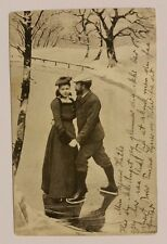 1902 Vintage Photo Post Card Ice Skaters Bergen Norway
