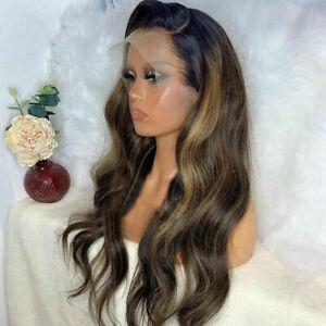 Luxury Lace Front Dark Ash Brown Balayage Human Hair Full Lace Wig Wavy Blonde