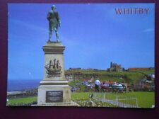 POSTCARD YORKSHIRE WHITBY - STATUE AND VIEW TOWARDS THE ABBEY