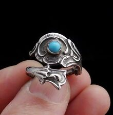 Handmade 925 Sterling Silver Turquoise Spoon Ring, Size 6