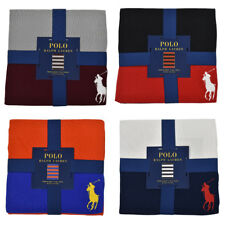 "Polo Ralph Lauren Home Striped Big Pony Throw Blanket 50"" x 70"" New"